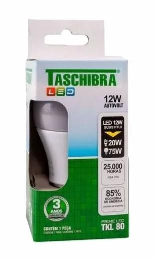 lampada a60 led taschibra tkl80 12w bivolt 6500k branca