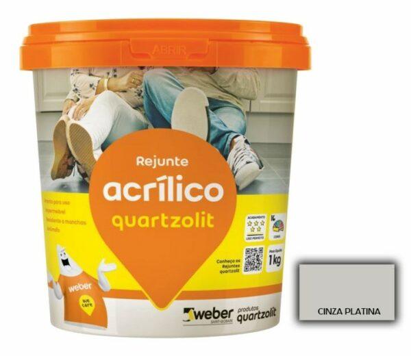 rejunte quartzolit acrilico 1kg cinza platina