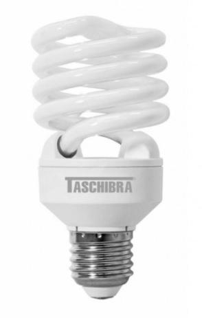 lampada compacta taschibra 25w 127v espiral mini compl. com reator branca