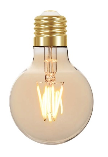 lampada led taschibra filamento vintage globo g80 bivolt 4k ambar