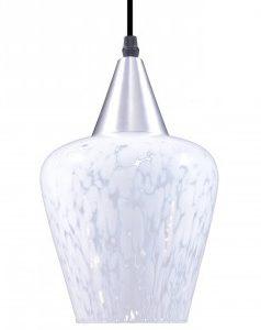 luminaria taschibra pendente venezia liso 1xe27 prata transp. leitoso