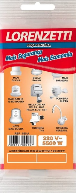 resistencia lorenzetti maxi ducha j3 t43 bello banho 5500w 220v 055a