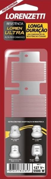resistencia lorenzetti maxi ducha ultra 5500w 127v 065j
