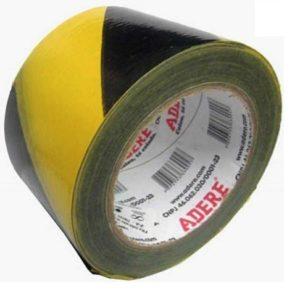 fita demarcacao adere preto amarelo sem adesivo 70mmx200m